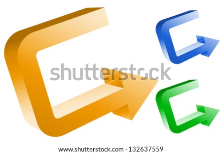 Arrows - Arrows Right - U-turn - Turning back - Turning Point 3D Graphics - stock vector