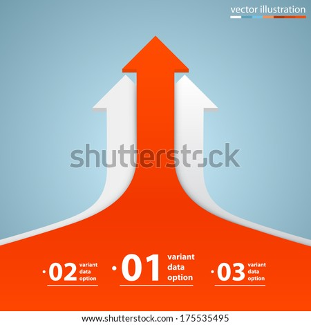 Arrows business growth, Arrow up numbers, Profit red arrow up, Vector infographic illustration - stock vector