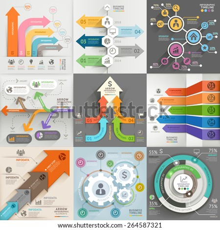 Arrows business marketing infographic template. Vector illustration. can be used for workflow layout, banner, diagram, number options, web design, timeline elements. - stock vector