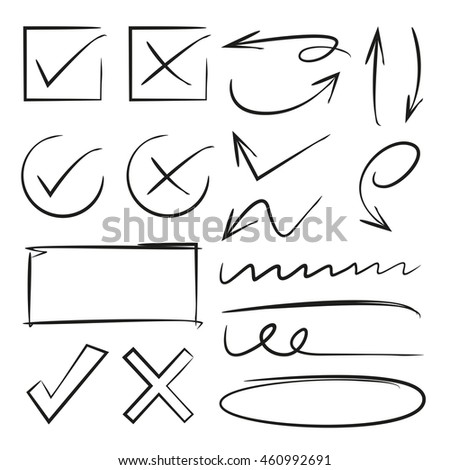 arrows, check marks, underlines, vector illustration