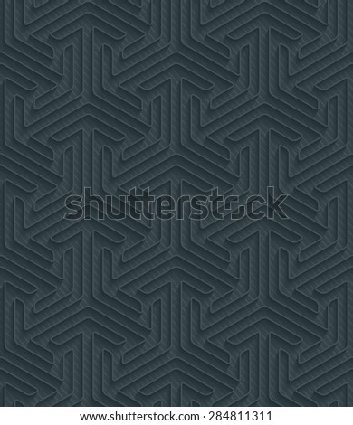 Arrows dark perforated paper with outline extrude effect. 3d seamless background. See others in My Perforated Paper Sets. - stock vector
