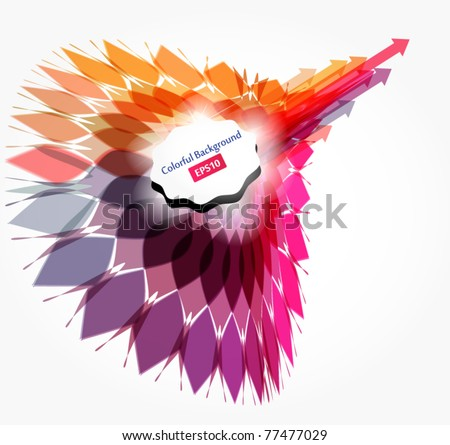 Arrows dash out from abstract feather - stock vector