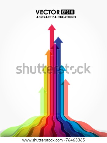 Arrows dash out from wave - stock vector