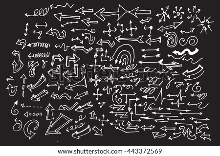 arrows doodle set on blackboard - stock vector