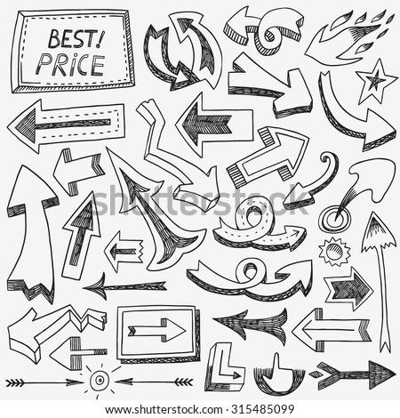 arrows doodles - stock vector
