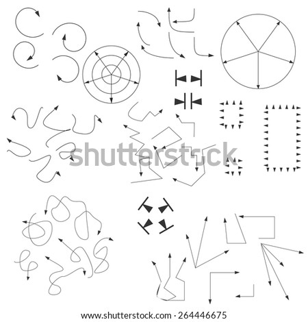 Arrows, doodles, drawing, writing, black, graphics. - stock vector