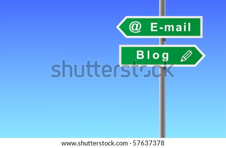 Arrows e-mail blog on sky background. - stock vector