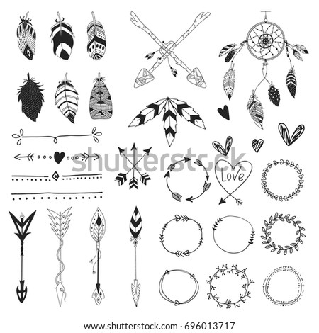 Arrows feathers hearts ornament handdrawn wedding stock vector arrows feathers hearts and ornament handdrawn wedding decor elements in boho style junglespirit Image collections