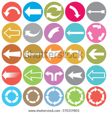 arrows flat icons collection - stock vector