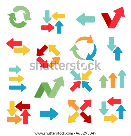 Arrows flat icons in different colors and variants. Abstract web symbols. Colorful set of direction signs for business. Vector illustration.