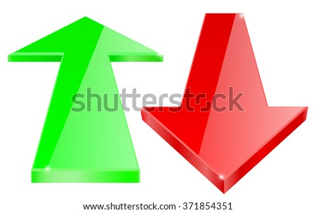 Arrows. Green and red shiny icon. Vector illustration isolated on white background - stock vector