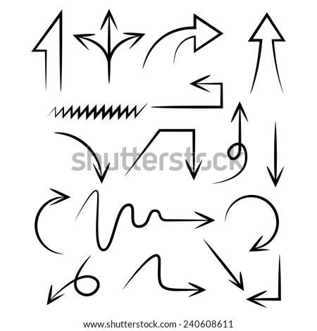 arrows, hand draw arrows, sketch arrows, doodle theme - stock vector
