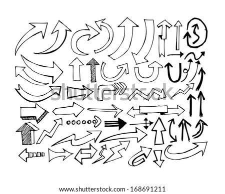 arrows icons set by hand drawing idea - stock vector