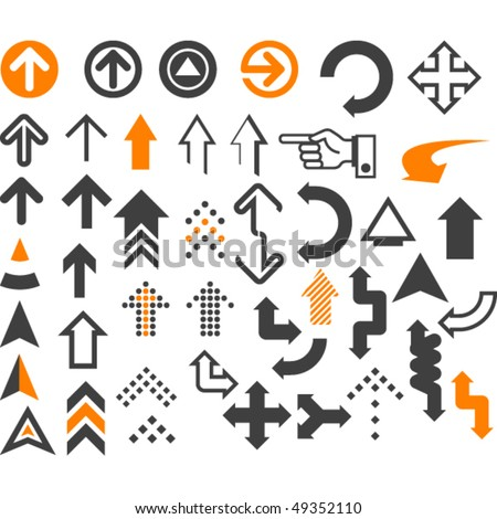 Arrows  in different styles and shapes on the white - stock vector