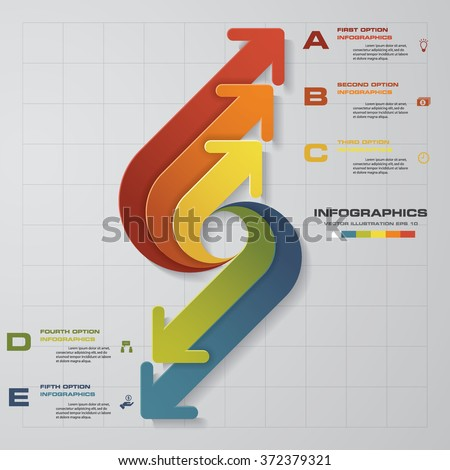 arrows infographic. Template for diagram, graph, presentation and chart. Business concept with 5 options - stock vector