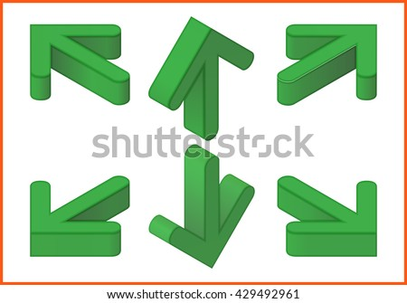 arrows isometric perspective view flat vector 3d icons collection - stock vector
