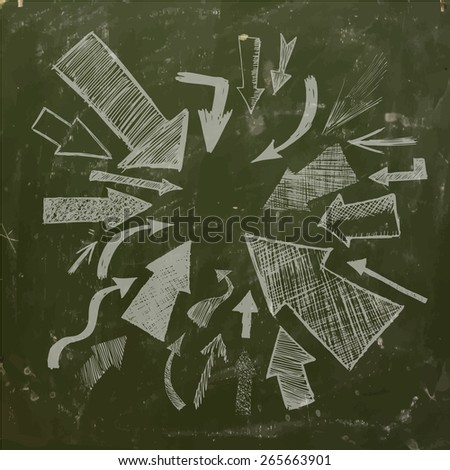 arrows on blackboard. Vector - stock vector