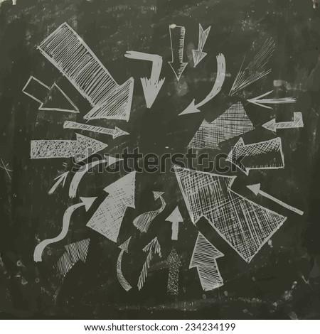 Arrows pencil abstract background on the blackboard. Vector  - stock vector