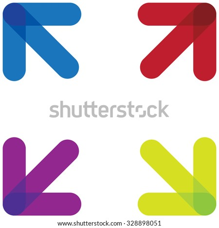 arrows pointing outwards into corners, vector illustration