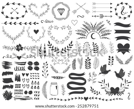 Arrows, ribbons, flowers and Indian elements for you design. - stock vector