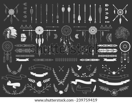 Arrows, ribbons, Indian elements, Aztec borders and embellishments - stock vector