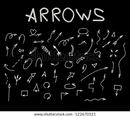 arrows set. hand drawn .sketched style