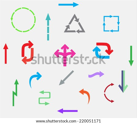 Arrows set in color.Vector illustration.