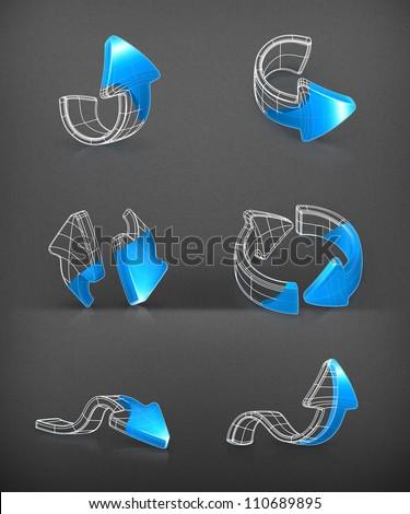 Arrows set, vector drawing - stock vector