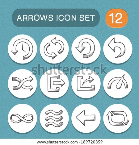 Arrows symbols set. Sketch icons pictograms collection. Eps 10 vector illustration. - stock vector