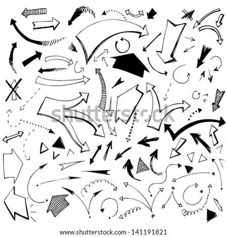 Arrows. Vector. (Hand-drawn) - stock vector