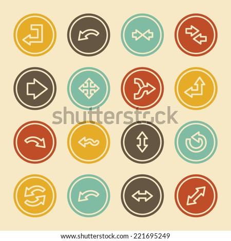 Arrows Web Icons, Color Circle Buttons - stock vector