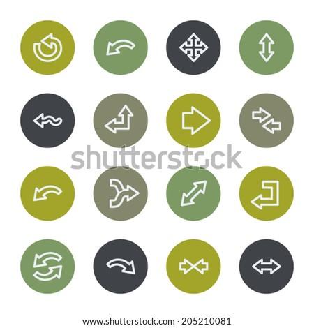 Arrows web icons set, color buttons - stock vector