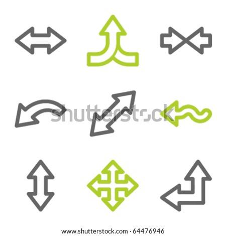 Arrows web icons set 2, green and gray contour series - stock vector