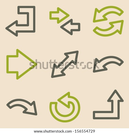 Arrows web icons set 1, vintage series - stock vector
