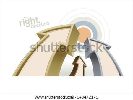 Arrows with target, business concept design template - stock vector