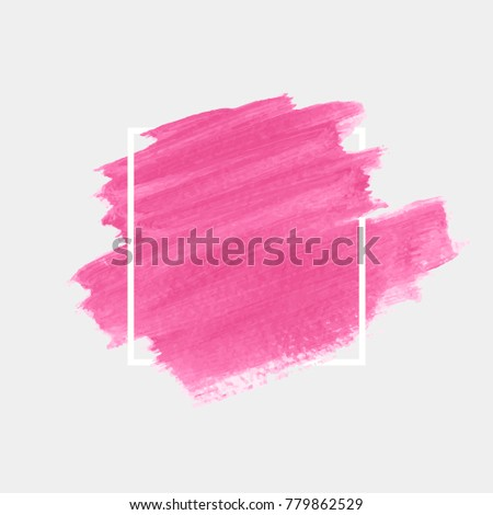 Art abstract background watercolor brush paint texture design over square frame  vector illustration. Perfect design for headline, logo and sale banner.