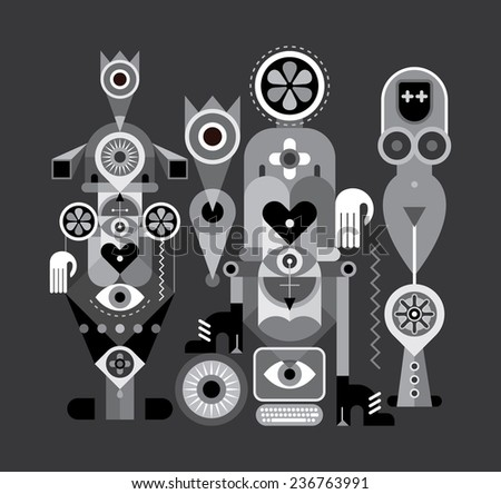 Art abstract composition with different objects and figures. Greyscale vector illustration.