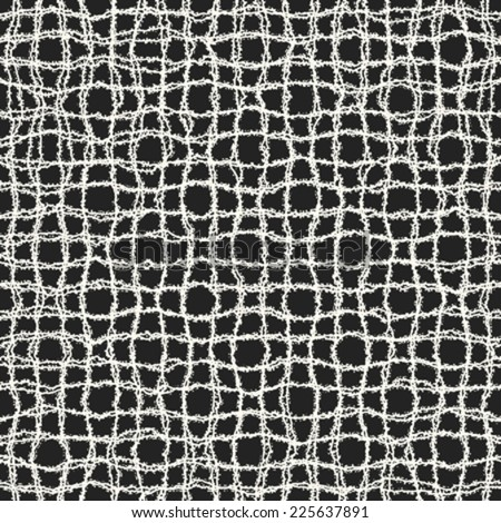 Art abstract corroded textured irregular mesh background in black and white. Seamless pattern. Vector.