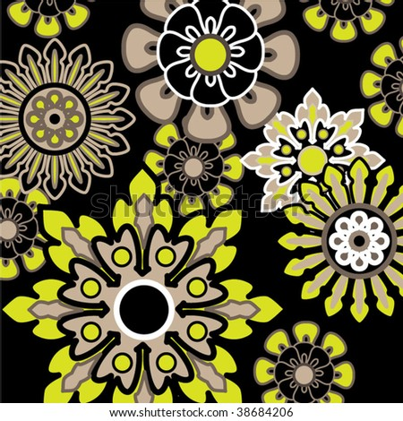 art abstract graphic stylization floral seamless pattern on black background