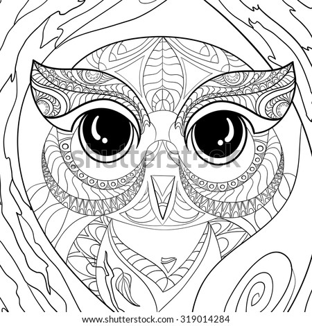 An Anti Stress Coloring Book Wise Owl And Flora