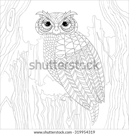 Art And Color Therapy An Anti Stress Coloring Book Wise Owl On The Stump