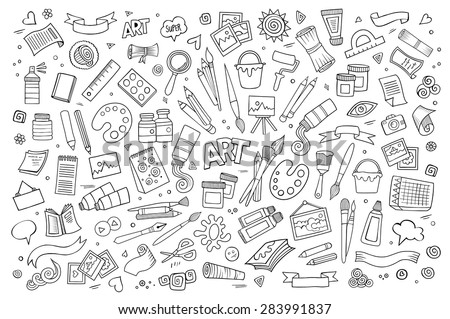 Art And Craft Hand Drawn Vector Symbols Objects