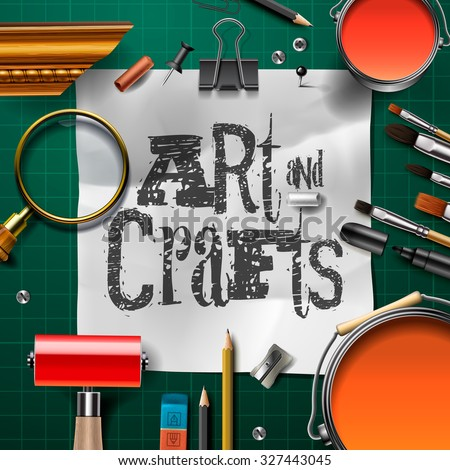 Art and crafts template with artist tools, vector illustration. - stock vector