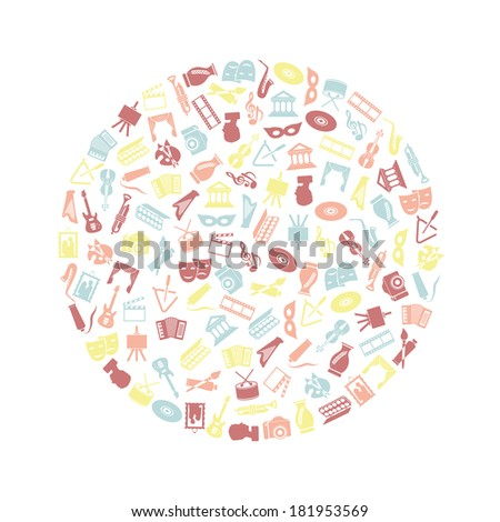 art and culture icons in circle - stock vector