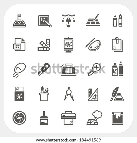 Art and Graphic design icons set - stock vector