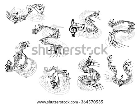 Art and music symbols with black silhouettes of notes and treble clefs on wavy and swirling musical staves. Great for art background, musical or entertainment design - stock vector