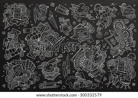 Art and paint materials doodles hand drawn chalkboard vector symbols and objects - stock vector