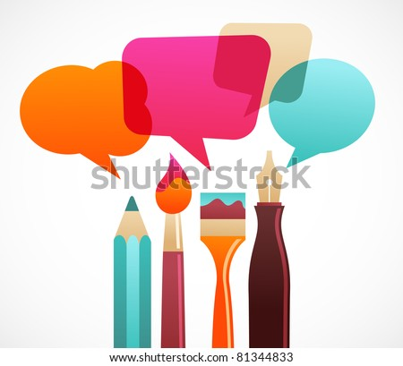 art and writing tools with speech bubles - stock vector