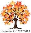 Art autumn tree. Maple - stock vector