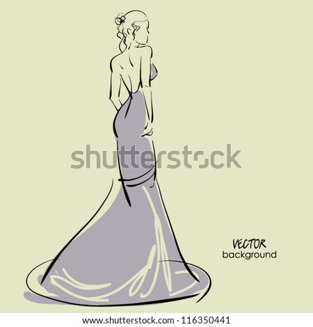 art  background with beautiful young woman sketch vector in party dress - stock vector
